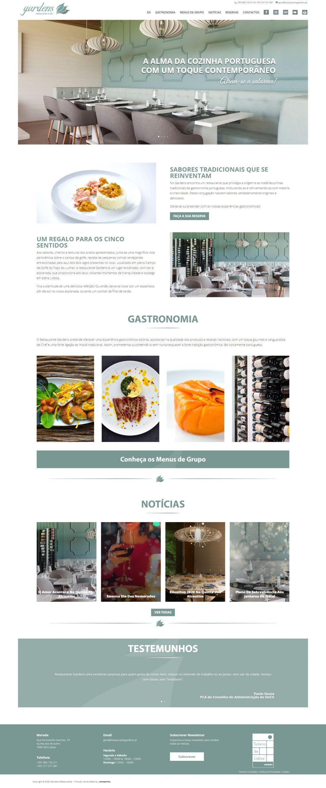 Site com SEO e Mautic para o Restaurante Gardens