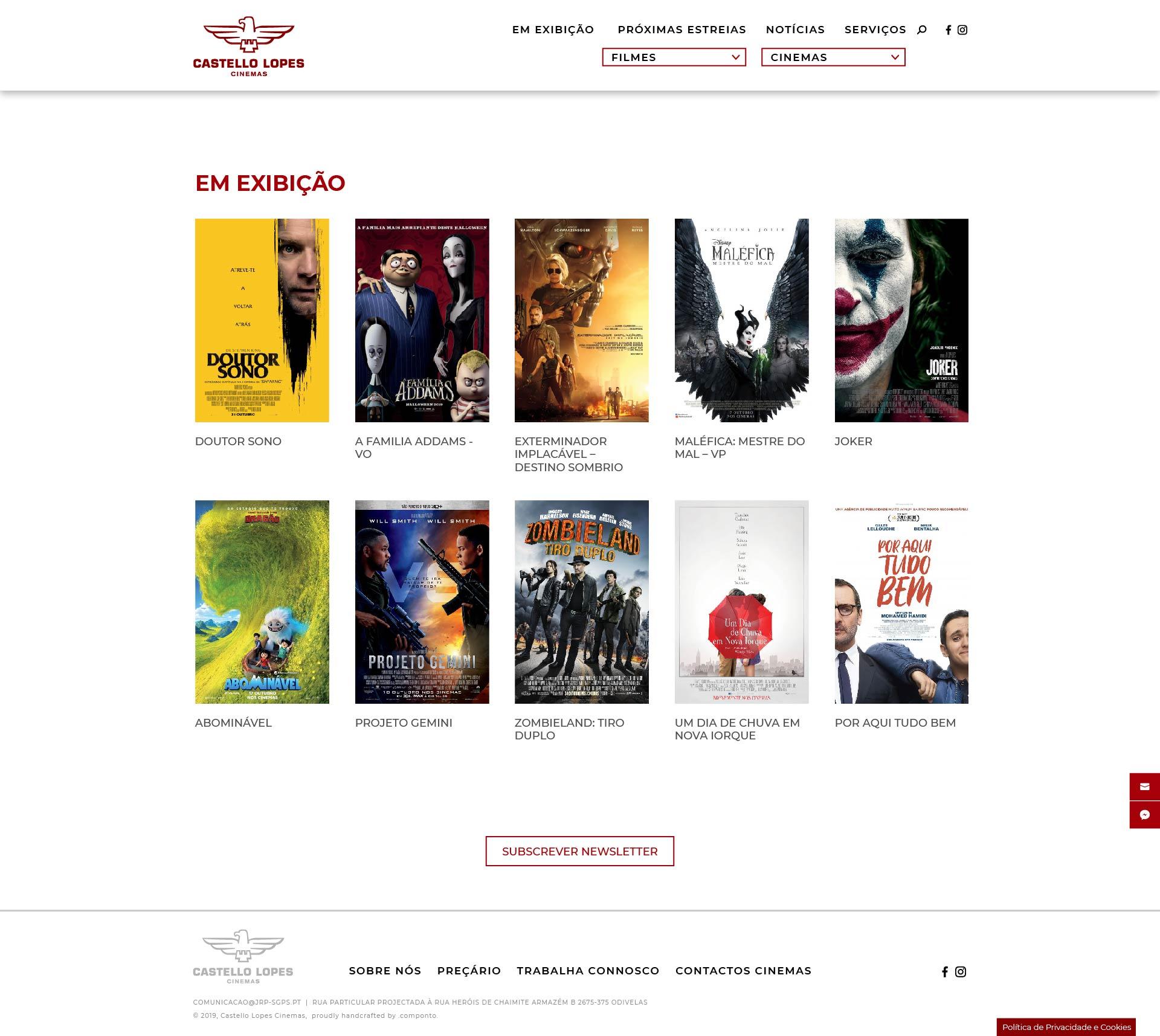Site e desenvolvimento para a Castello Lopes Cinemas