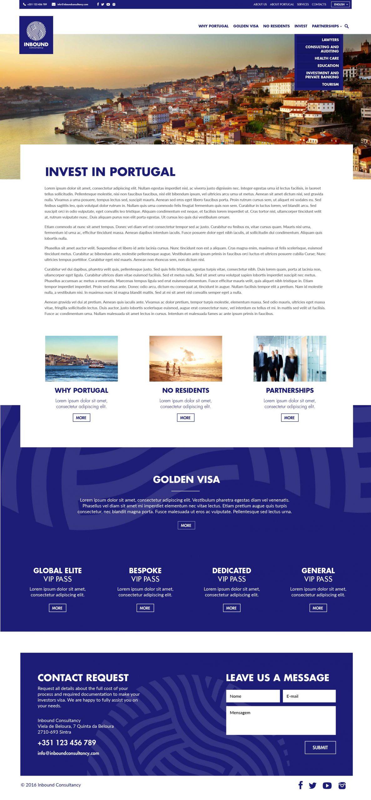 Site em wordpress da Inbound Consultancy