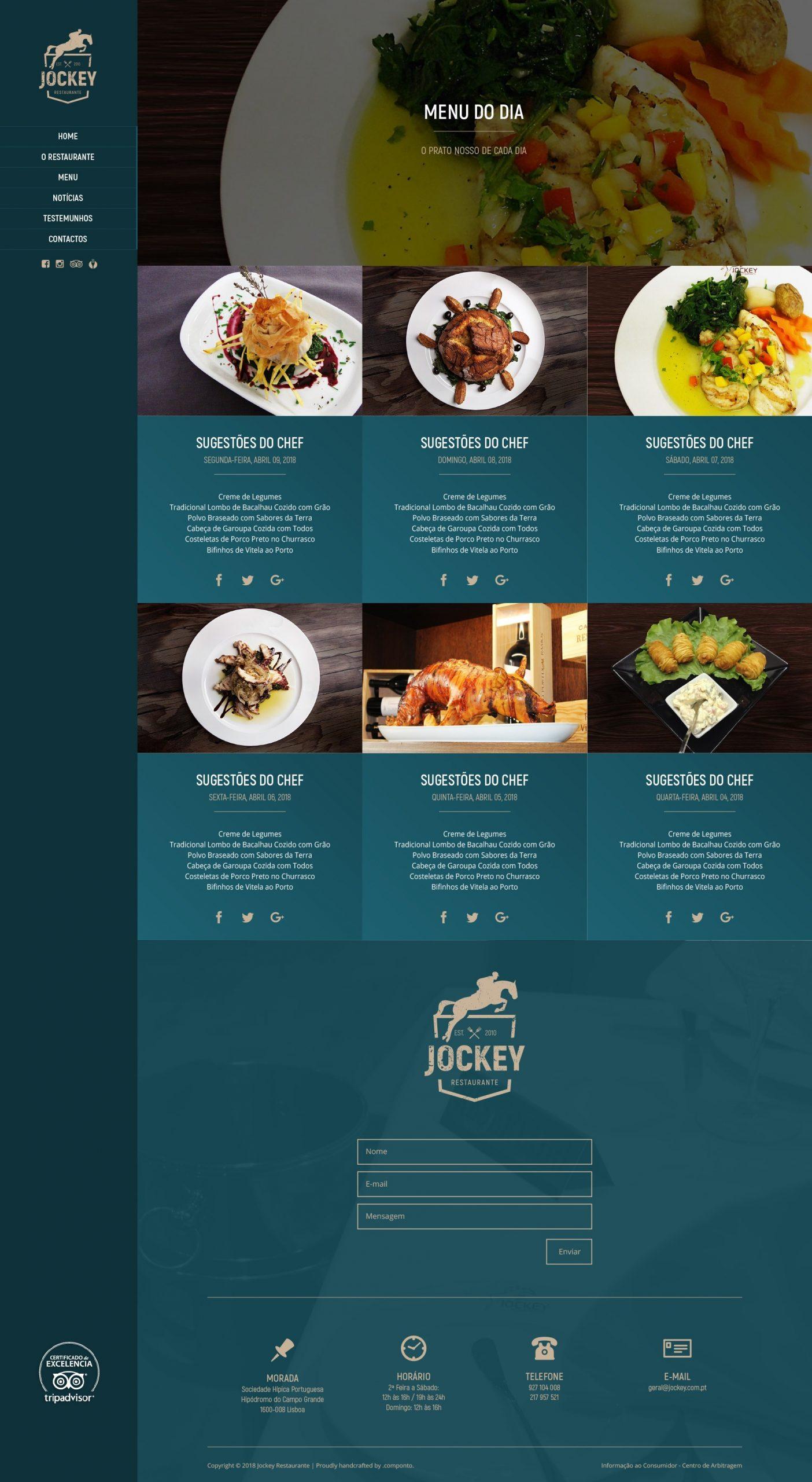 Site e Mautic do restaurante Jockey