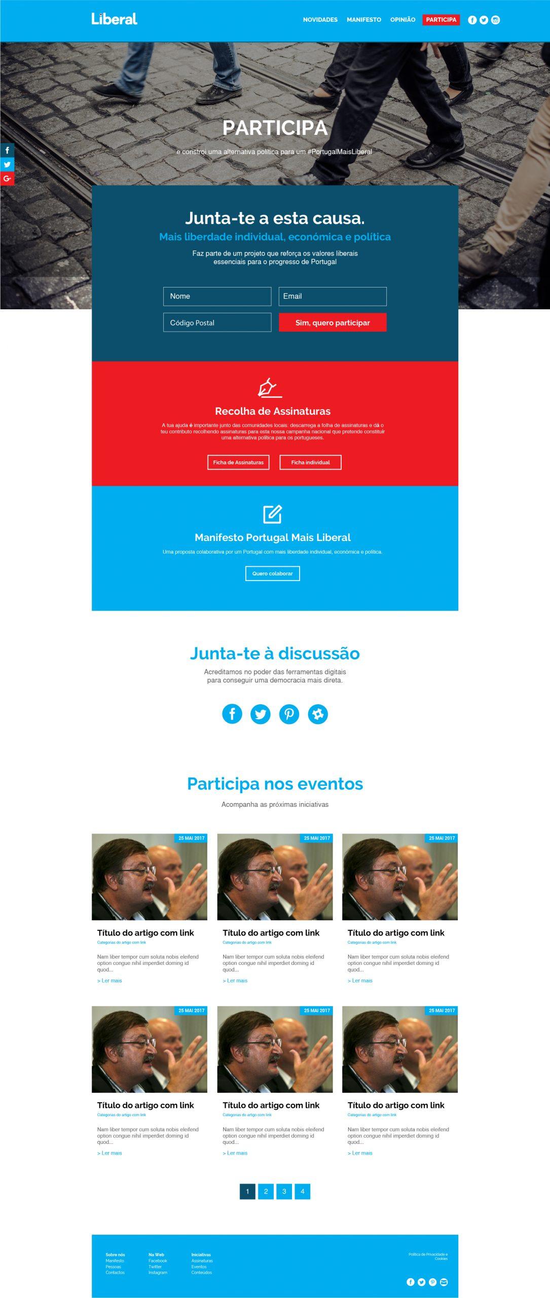 Site com sharehub e Mautic da Iniciativa Liberal