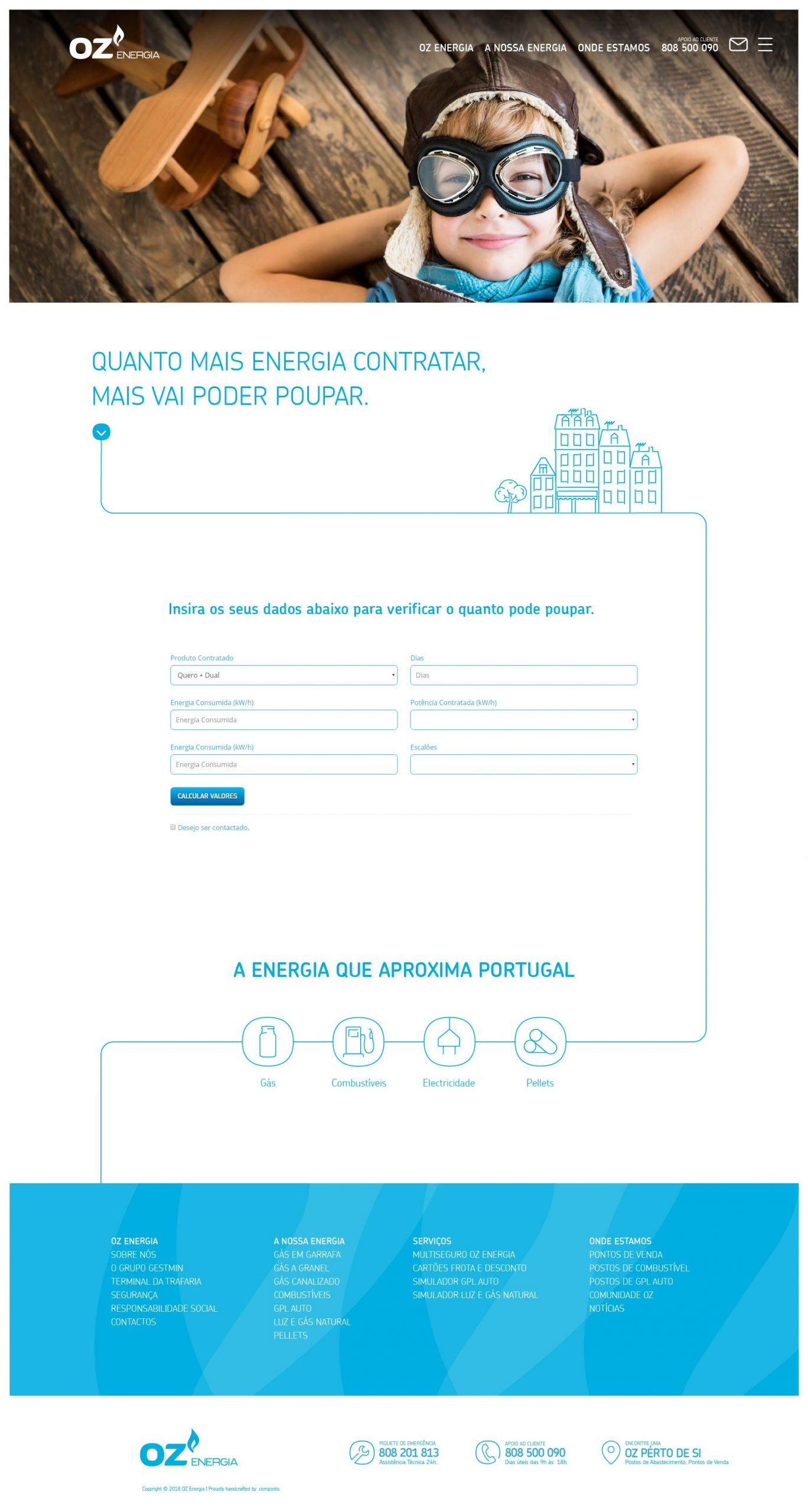 Site em WordPress e Desenvolvimento para a OZ Energia