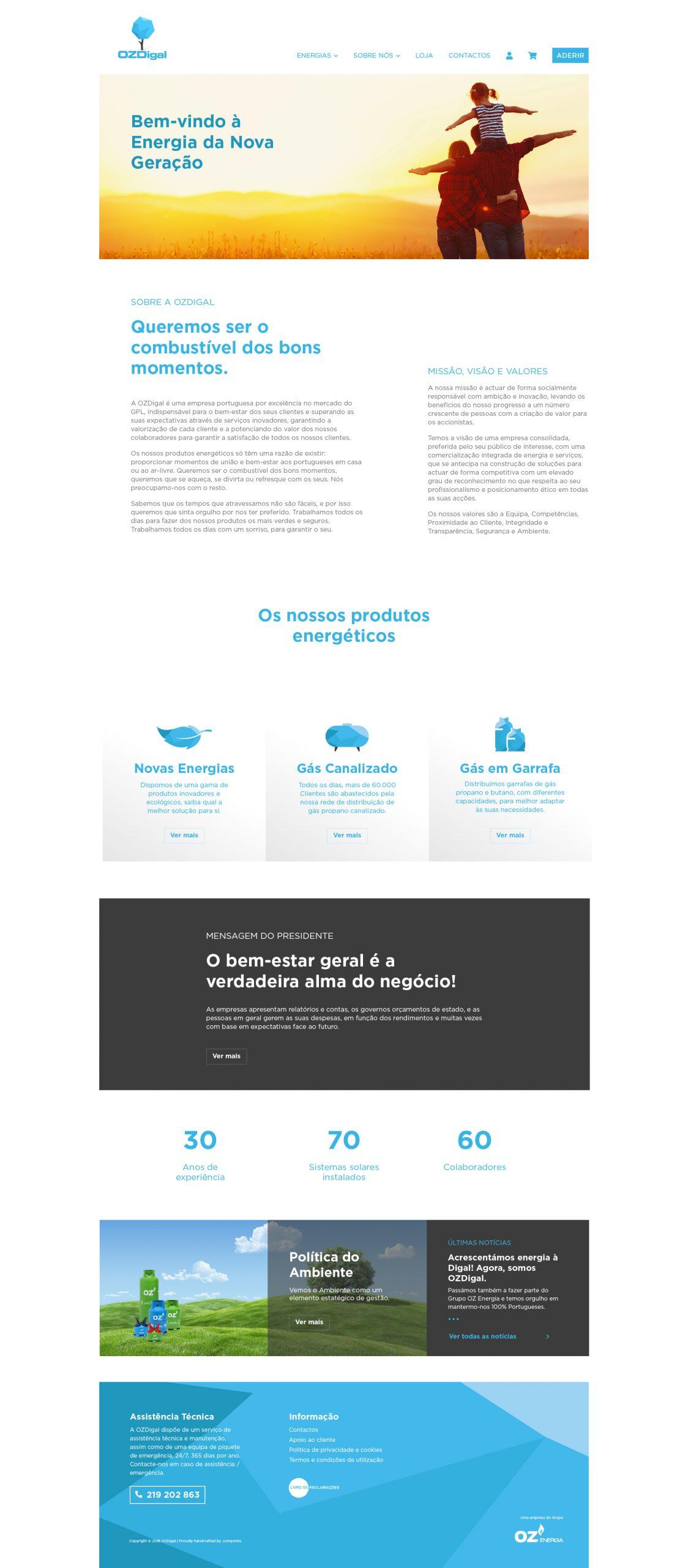 Site em wordpress com e-commerce e SEO da OZDigal